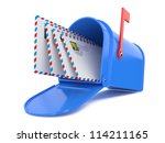 blue mailbox with mails... | Shutterstock . vector #114211165
