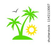 tropical palm tree with sun.... | Shutterstock .eps vector #1142113007