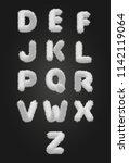 cute white fur alphabet. vector ... | Shutterstock .eps vector #1142119064
