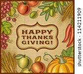 thanksgiving retro card. vector | Shutterstock .eps vector #114211909
