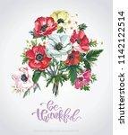 floral vintage greeting card... | Shutterstock .eps vector #1142122514