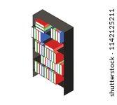 office cupboard with folders... | Shutterstock .eps vector #1142125211