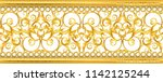 gold baroque frame scroll... | Shutterstock .eps vector #1142125244