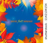 autumn colored foliage frame... | Shutterstock .eps vector #1142134154