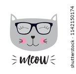 little cute cat vector... | Shutterstock .eps vector #1142150174