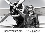 beautiful girl in black jacket... | Shutterstock . vector #114215284