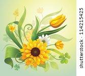 arte,artística,fondo,hermosa,botánico,ramo,ramo de flores,celebración,trébol,composición,creativa,margarita,día,decoración,detalles