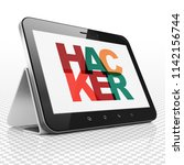 privacy concept  tablet... | Shutterstock . vector #1142156744