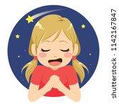 beautiful little girl making... | Shutterstock .eps vector #1142167847