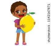 cute little black girl holding...   Shutterstock .eps vector #1142167871