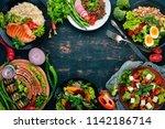 set of food. chicken breast... | Shutterstock . vector #1142186714