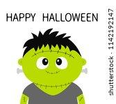 happy halloween. frankenstein... | Shutterstock .eps vector #1142192147