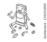 robot error broken doodle icon...   Shutterstock .eps vector #1142213054