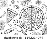tasty pizza ingredients set .... | Shutterstock .eps vector #1142214074
