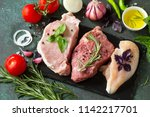 fresh raw meat. different types ... | Shutterstock . vector #1142217701