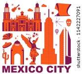 mexico city culture travel set  ...   Shutterstock .eps vector #1142227091