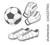 football ball gloves and shoes. ...   Shutterstock .eps vector #1142237501