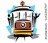 cable car with passengers | Shutterstock .eps vector #1142244707