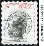 Small photo of ITALY - CIRCA 1979: stamp printed by Italy, shows Woman makin phone call, circa 1979