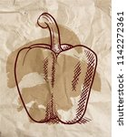 sweet pepper drawing over brown ... | Shutterstock .eps vector #1142272361
