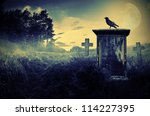 Crow Sitting On A Gravestone I...