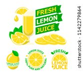 fresh lemon juice and slices.... | Shutterstock .eps vector #1142279864