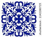 tile ornament. navy blue ornate ...   Shutterstock .eps vector #1142280725