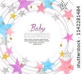 baby shower invitation card... | Shutterstock .eps vector #1142281484