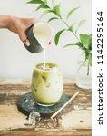 matcha. iced matcha latte drink ... | Shutterstock . vector #1142295164