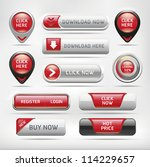 red glossy web elements button...