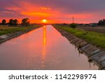 background of sky at sunset  on irrigation water channel for agriculture in Italian countryside