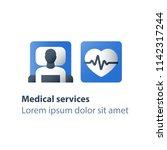 patient in bed  hospital... | Shutterstock .eps vector #1142317244