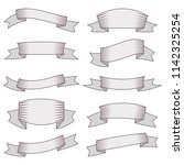 set of ten ribbons and banners... | Shutterstock . vector #1142325254