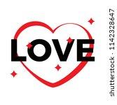 red heart outline on a white...   Shutterstock . vector #1142328647