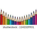multicolor pencils border... | Shutterstock . vector #1142329931