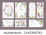 floral wedding invitation with... | Shutterstock .eps vector #1142343761