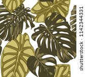 tropical leaves. seamless... | Shutterstock .eps vector #1142344331