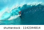 close up  young pro surfer... | Shutterstock . vector #1142344814