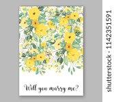 floral sunflower wedding... | Shutterstock .eps vector #1142351591
