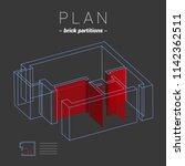 apartment plan brick partitions.... | Shutterstock .eps vector #1142362511