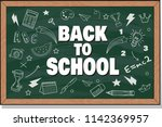 back to school text drawing by... | Shutterstock .eps vector #1142369957