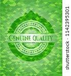 genuine quality green emblem... | Shutterstock .eps vector #1142395301