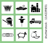 farm icon set  agriculture | Shutterstock .eps vector #114239851