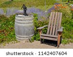 Wooden Barrel And Chair In...