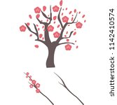 japanese apricot tree and... | Shutterstock .eps vector #1142410574