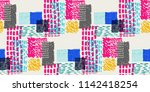 memphis seamless  pattern in...   Shutterstock .eps vector #1142418254