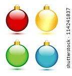 Christmas Balls On White  Red...