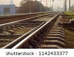modern railroad tracks with... | Shutterstock . vector #1142433377