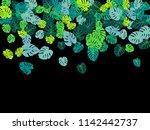 green tropical jungle leaves... | Shutterstock .eps vector #1142442737