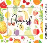 hello august inscription on the ... | Shutterstock .eps vector #1142452511
